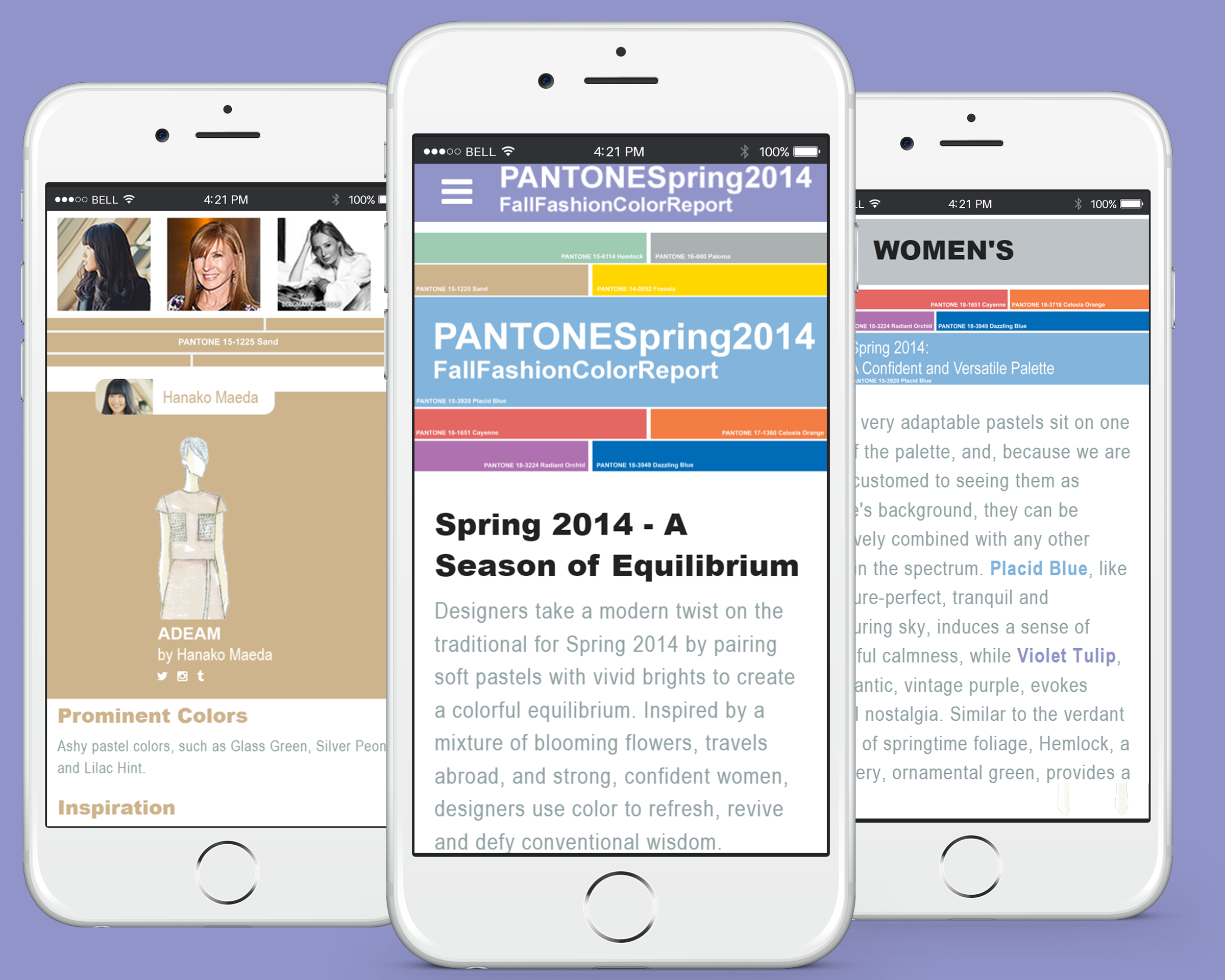 Pantone 2014 Spring Fashion Report Mobile Concept